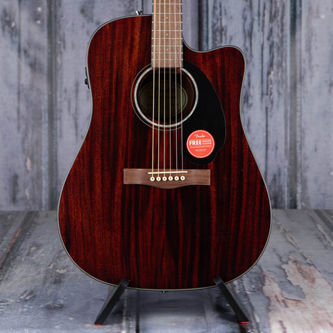 Fender CD-60SCE Dreadnought Acoustic/Electric Guitar, All-Mahogany, front closeup