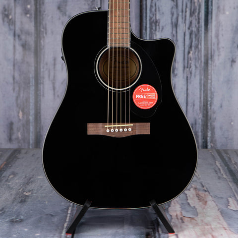 Fender CD-60SCE Dreadnought Acoustic/Electric Guitar, Black, front closeup