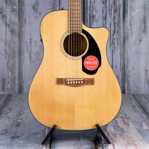 Fender CD-60SCE Dreadnought Acoustic/Electric Guitar, Natural, front closeup