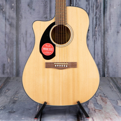 Fender CD-60SCE Dreadnought Left-Handed Acoustic/Electric Guitar, Natural, front closeup