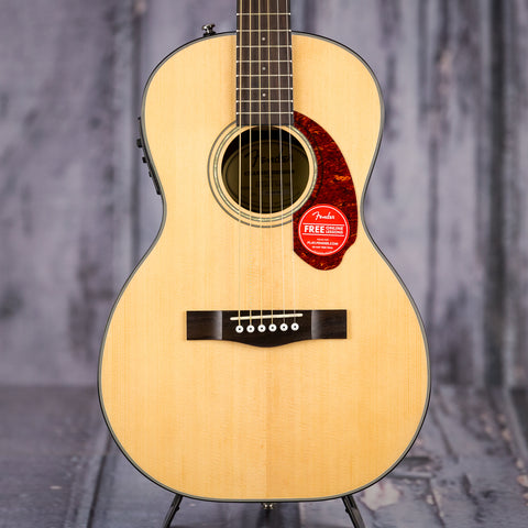 Fender CP-140SE Parlor Acoustic/Electric Guitar, Natural, front closeup