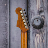 Fender California Series Malibu Classic, Cosmic Turquoise, back headstock closeup