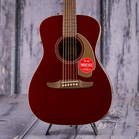 Fender California Series Malibu Player Acoustic Electric Guitar, Candy Apple Red, front closeup