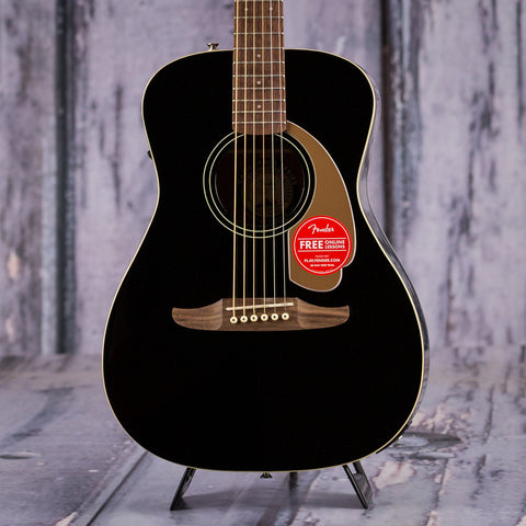 Fender California Series Malibu Player Acoustic Electric Guitar, Jetty Black, front closeup