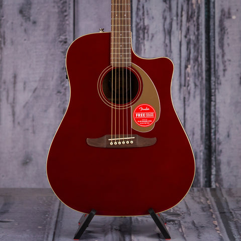 Fender California Series Redondo Player, Candy Apple Red, front closeup