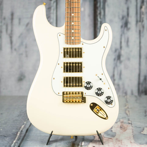 Fender Channel Exclusive Mahogany Blacktop HHH Stratocaster Electric Guitar, Olympic White, front closeup