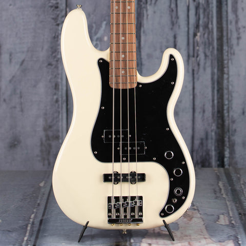 Fender Deluxe Active Special Precision Bass Guitar, Olympic White, front closeup