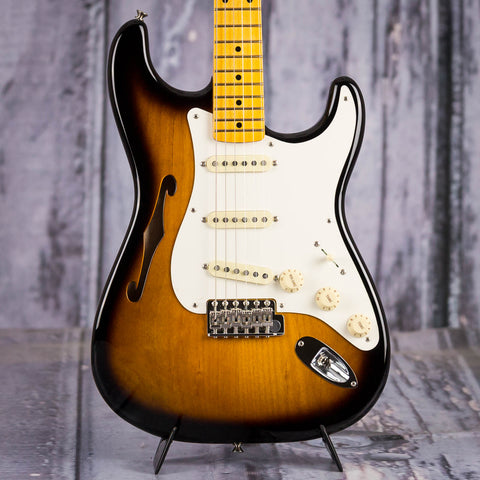 Fender Eric Johnson Signature Stratocaster Thinline Electric Guitar, Two-Color Sunburst, front closeup