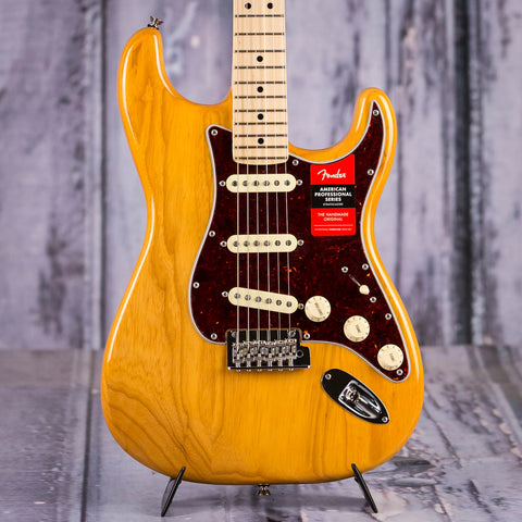 Fender Limited Edition American Professional Stratocaster Electric Guitar, 2019, Aged Natural, front closeup