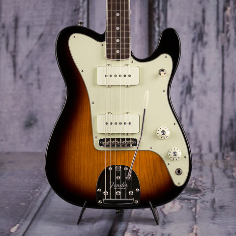 Fender Parallel Universe Jazz-Tele Hybrid Electric Guitar, 2018, 2-Color Sunburst, front closeup