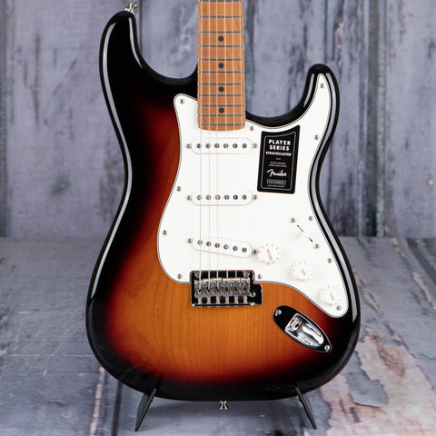 Fender Limited Edition Player Stratocaster Electric Guitar, 3-Color Sunburst, front closeup