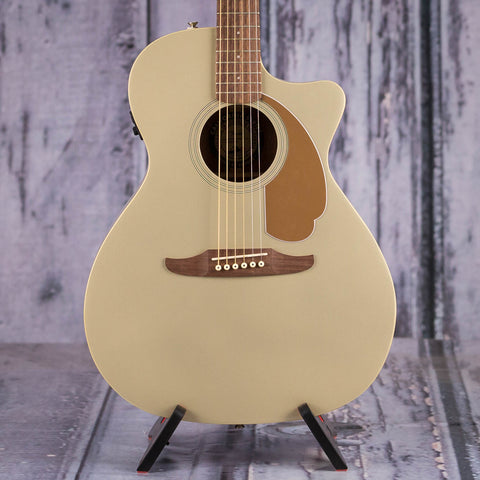 Fender Newporter Player Acoustic/Electric Guitar, Champagne, front closeup