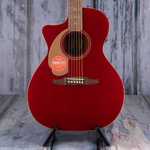 Fender Newporter Player Left-Handed Acoustic/Electric Guitar, Candy Apple Red, front closeup