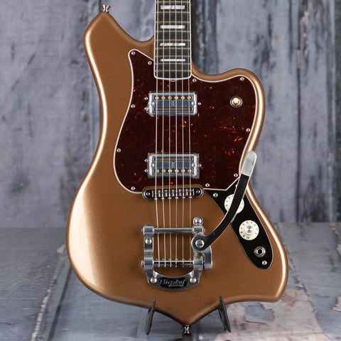 Fender Parallel Universe Volume II Maverick Dorado Electric Guitar, Firemist Gold, front closeup