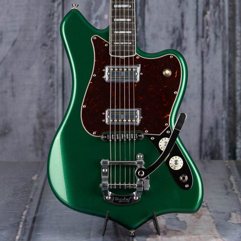 Fender Parallel Universe Volume II Maverick Dorado Electric Guitar, Mystic Pine Green, front closeup