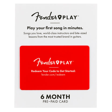 Fender Play Online Lesson Subscription Card, Six Months Pre-Paid, front