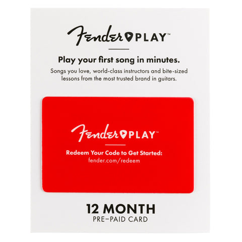 Fender Play Online Lesson Subscription Card, Twelve Months Pre-Paid, front