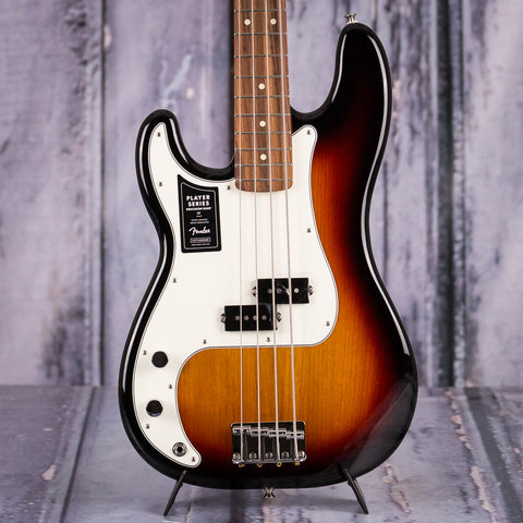 Fender Player Precision Bass Left-Handed Electric Bass Guitar, 3-Color Sunburst, front closeup