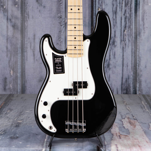 Fender Player Precision Bass Left-Handed Electric Bass Guitar, Black, front closeup