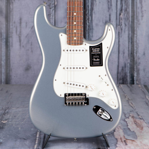 Fender Player Stratocaster Electric Guitar, Silver, front closeup