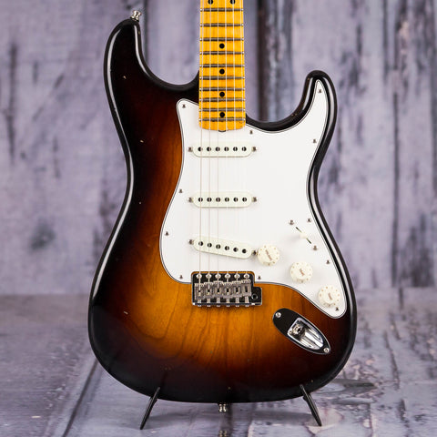 Fender Postmodern Stratocaster Journeyman Relic Electric Guitar, 2018, Wide-Fade 2-Color Sunburst, front closeup
