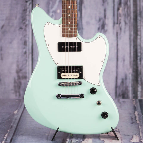 Fender PowerCaster Electric Guitar, Surf Green, front closeup
