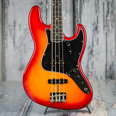 Fender Rarities Flame Ash Top Jazz Bass Guitar, Plasma Red Burst, front closeup