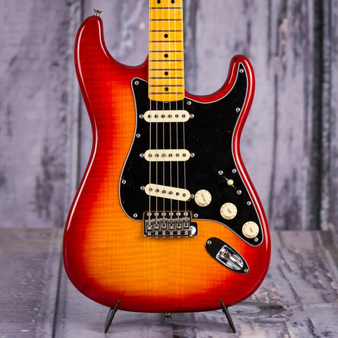 Fender Rarities Flame Ash Top Stratocaster Electric Guitar, Plasma Red Burst, front closeup
