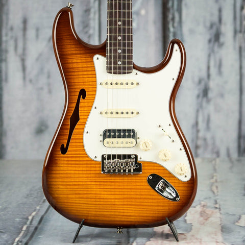 Fender Rarities Flame Maple Top Stratocaster HSS Thinline Semi-Hollowbody Guitar, Violin Burst, front closeup