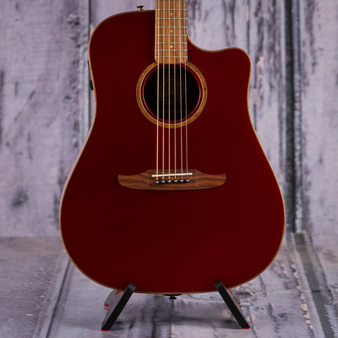 Fender Redondo Classic Acoustic/Electric Guitar, Hot Rod Red Metallic, front closeup