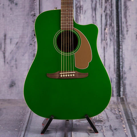 Fender Redondo Player Acoustic/Electric Guitar, Electric Jade, front closeup