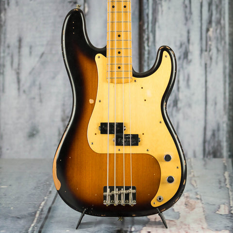 Fender Road Worn '50s Precision Bass Guitar, 2-Color Sunburst, front closeup