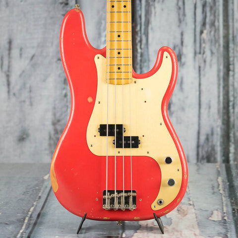 Fender Road Worn '50s Precision Bass Guitar, Fiesta Red, front closeup
