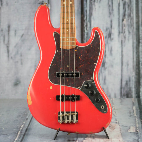 Fender Road Worn '60s Jazz Bass Guitar, Fiesta Red, front closeup