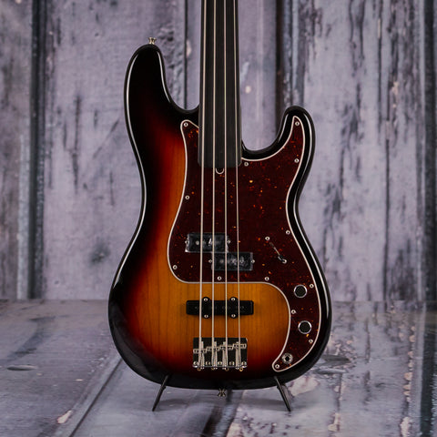 Fender Tony Franklin Fretless Precision Bass, Signed By Tony Franklin, 3-Color Sunburst, front closeup