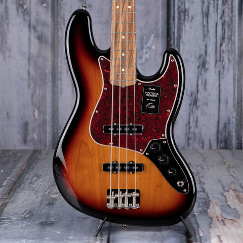 Fender Vintera '60s Jazz Bass Guitar, 3-Color Sunburst, front closeup