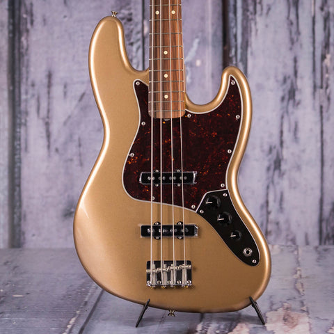 Fender Vintera '60s Jazz Bass Guitar, Firemist Gold, front closeup