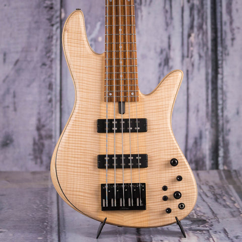 Fodera Emperor 5 Standard 5-String Electric Bass Guitar, Natural, front closeup