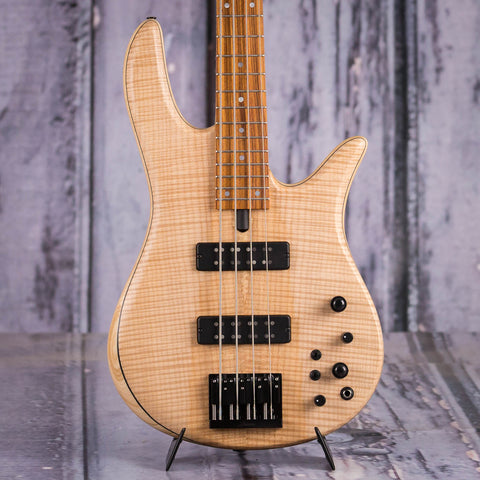 Fodera Monarch Standard Electric Bass Guitar, Natural, front closeup