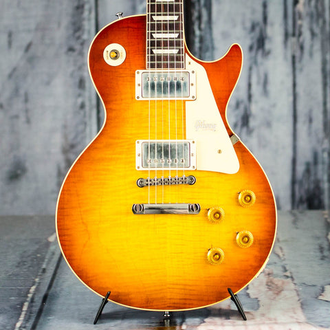 Gibson Custom Shop 60th Anniversary 1960 Les Paul Standard V1 VOS Electric Guitar, Antiquity Burst, front closeup