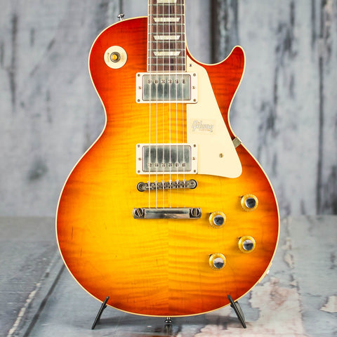 Gibson Custom Shop 60th Anniversary 1960 Les Paul Standard V2 VOS Electric Guitar, Tomato Soup Burst, front closeup