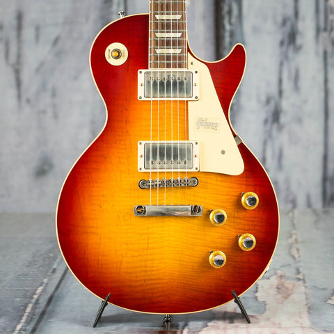 Gibson Custom Shop 60th Anniversary 1960 Les Paul Standard V3 VOS Electric Guitar, Wide Tomato Burst, front closeup