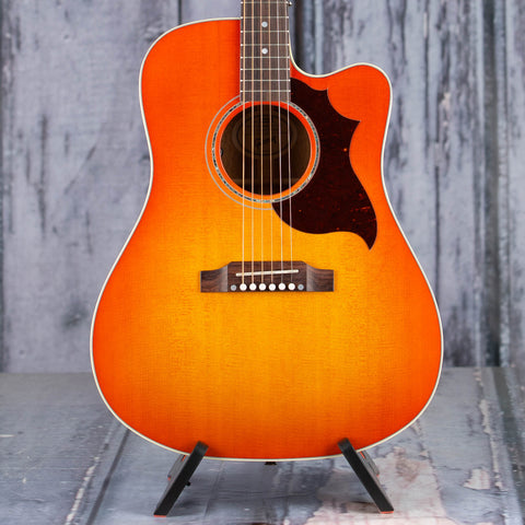 Gibson Montana Songwriter Modern EC Mahogany Acoustic/Electric Guitar, Light Cherry Sunburst, front closeup