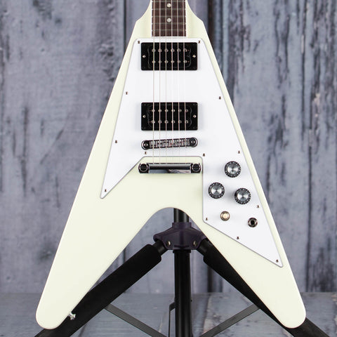 Gibson USA '70s Flying V Electric Guitar, Classic White, front closeup