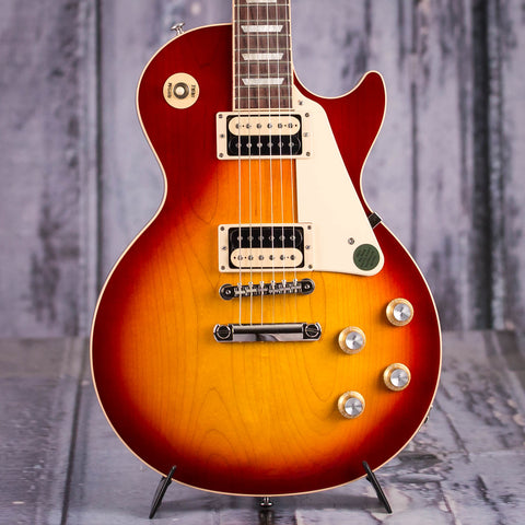 Gibson USA Les Paul Classic Electric Guitar, 2019, Heritage Cherry Sunburst, front closeup