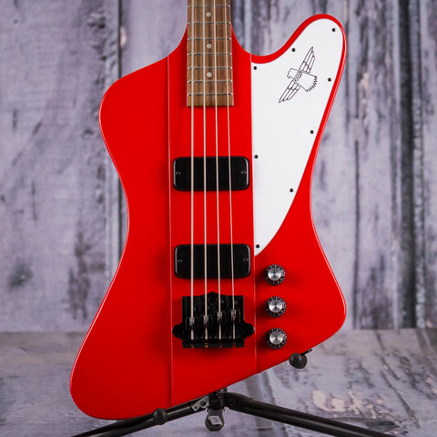 Gibson USA Thunderbird Electric Bass Guitar, 2018, Bright Cherry, front closeup