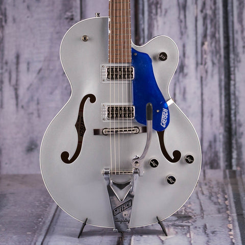 Gretsch G6118T Players Edition Anniversary Hollow-Body Electric Guitar, 2-Tone Iridium Silver/Azure Metallic, front closeup