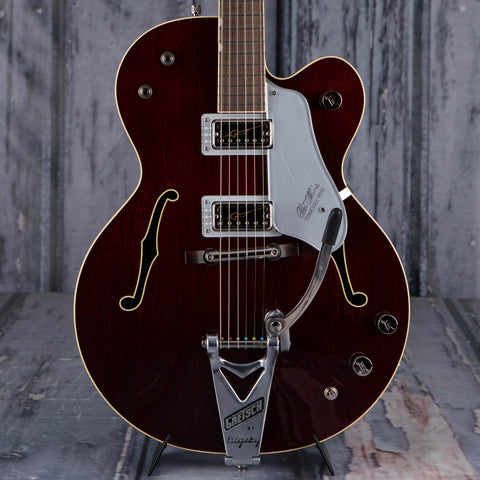 Gretsch G6119T-62 Vintage Select Edition '62 Tennessee Rose Hollowbody Guitar, Dark Cherry Stain, front closeup