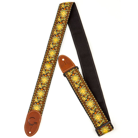 Gretsch 'G Brand' Series Guitar Strap, Yellow/Orange With Brown Ends
