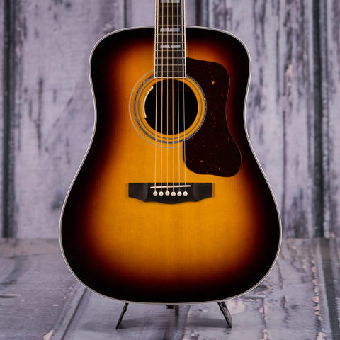 Guild D-55E Dreadnought Acoustic/Electric Guitar, Antique Burst, front closeup